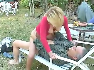 Mature man fucks neighborhood blonde slut after exciting blowjob on the backyard