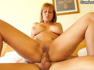 Temperamental Spanish woman with great tits fucks on big bed