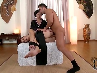 Tied up brunette licking mistress pussy and getting assfucked