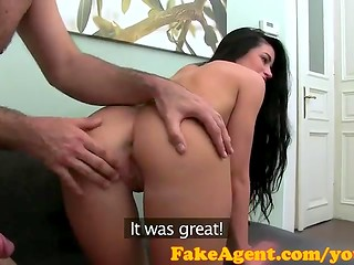FakeAgent: long-haired slim brunette gets her pussy pumped full of cum in casting