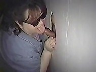 Mature fat woman with sunglasses tastes stranger's cock through the gloryhole 8