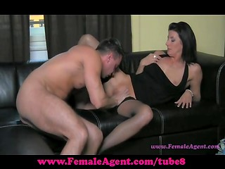 Straight man licks, fingers and fucks fake female agent's pussy after short interview