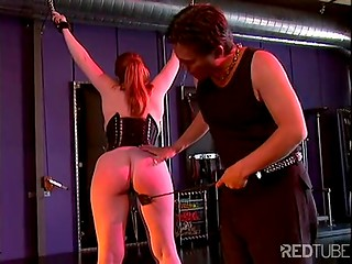 Young chubby girl gets tied up and enjoys nipple-torturing by her crazy master
