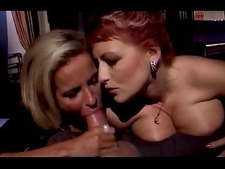 Two busty VIP prostitutes satisfying experienced rich businessman in the luxurious hotel room