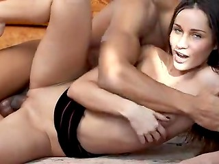 Mulatto boyfriend with huge cock makes love to his lovely black-haired sweetie