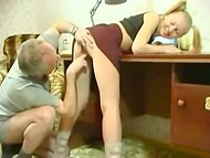 Amateur blonde cutie with small tits surprises her mature stepfather with nice fucking