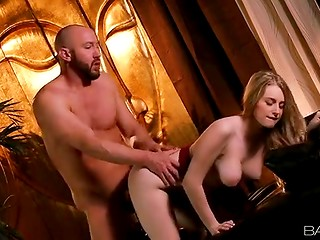 Exquisite blonde babe with sweet natural tits and beautiful eyes makes love to her lover