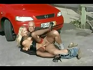 German blonde slut gets banged well by bald guy on the hood of his car