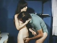 Hairy pussies of horny French students get pounded by lucky guys in the vintage porn