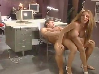 Busty secretary is tired of working and goes wild with her handsome colleague right in the office