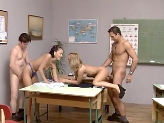New teacher stops the lesson because horny student girls have much more exciting ideas