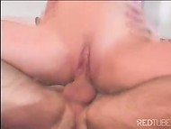 Awesome anal sex video by pretty blonde chick in sexy skirt that really loves the taste of the cum 5
