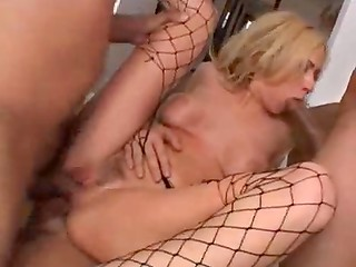 Astonishing blonde MILF participates in wild gangbang sex-scene with toys and men
