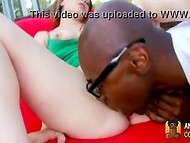 Pale-skinned young hottie gets her shaved pussy pounded by big black cock in the fresh air 5