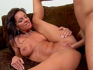 Lustful MILF Sarah Bricks with big breasts gets wildly penetrated by her young partner's cock