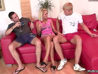 Blonde, her boyfriend and his brother drinking together - what will happen next?