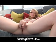 Young blonde with soft pale skin shows off its skills at the first casting