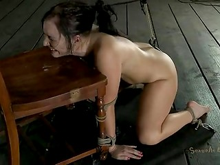 Tied up Ashli Orion struggling with dick and getting assfucked by strap-on