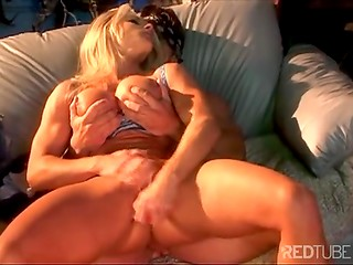 Muscular guy interests blonde greatly, she simply can't resist him