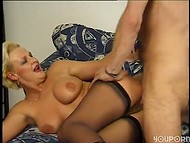 Slutty woman in black stockings fucked wonderfully by her strong partner