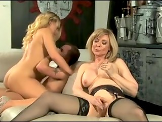 Stepmom Nina Hartley teaching her stepdaughter how to behave in bed