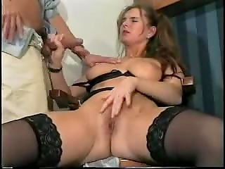 Vintage lady masturbates and gives handjob at the same time