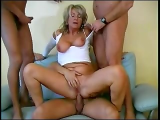 Horny skilful German grannie gets banged by three brutal men with fat dicks