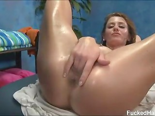 Awesome skinny woman presents gentle massage and fucks hard in exciting poses