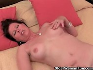 Sexy mature with hairy vagina masturbating on bed and playing with her tits 9
