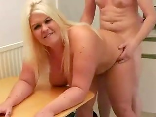 Blonde BBW maid with bald twat agrees to fuck for money