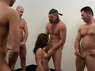 Slut takes part in a gangbang audition and gets drilled by a group of hungry men 11