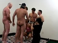 Slut takes part in a gangbang audition and gets drilled by a group of hungry men 7