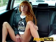 Curios redhead got blackmailed and then fucked by a athletic stranger in fake taxi