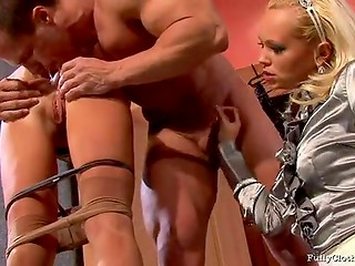 Two MILF sluts pulling up their skirts and fucking guy with a big muscles