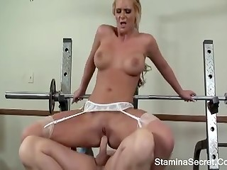 Busty blonde nurse gives blowjob to doctor then gets her anus used by him