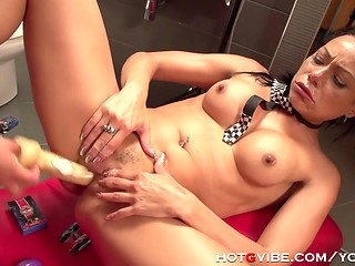 Latina lesbians getting enjoyment from playing with sex toys