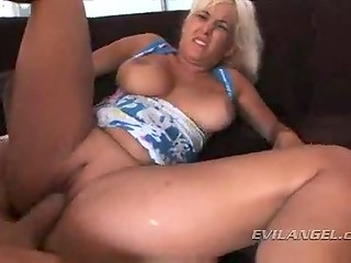 Passionate fucking action with busty blonde MILF, who is proud of her massive ass