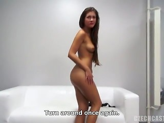 Czech brunette cutie answering provocative questions and fucking in casting