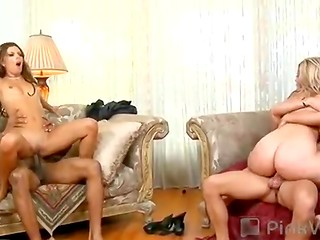 Two horny good-looking ladies ladies swap their partners