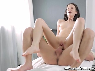 Russian babe fucks masseur and then swallows his cum