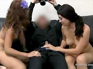 Horny agent checks two young girls blowjob skills