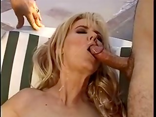 MILF blonde fucking outside while another dude watching and jerking his cock