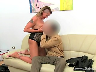 FakeAgent: interview goes well - MILF with saggy tits licks agent's pussy then gets shagged