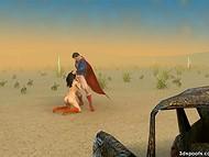 Superhero fucks stunning brunette MILF in the desert 5
