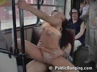 Public banging in bus with people watching