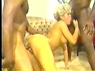 Two dark-skinned fuckers are happy to humiliate the juicy pussy of cute blonde dame in the vintage scene