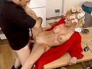 Bewitching lady with delicious tits wants to be nailed in her precious trimmed snatch