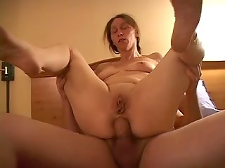 Pregnant wife with bald pussy enjoys anal pleasure