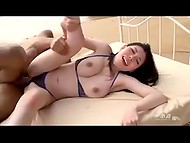 Swanky Asian darling gives a high-class blowjob outside and gets cum in pussy