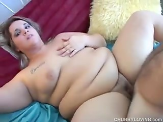 Pretty young BBW takes her bra and panties off then starts sucking and fucking her lover's cock